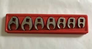 Snap on 7pc 3 8 drive 6pt Sae Flank Drive Flare Nut Crowfoot Wrench Set 3 8 3 4
