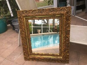 Antique Ornate Thick Gold Gilt Mirror Rococo Carved Solid Wood Gold Gilt Huge