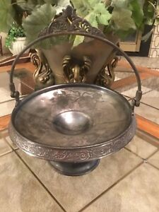 Pairpoint Quadruple Silverplate Brides Bowl Cake Stand 1245