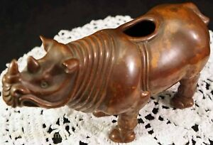 Antique Chinese Bronze Rhino Rhinoceros Figure Statue Incense Burner Vessel