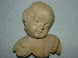 Hand Carved Wood Angel Bust Wall Sculpture One Of A Kind Piece By J B