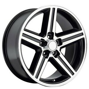 4new 22x8 5 Iroc Wheels Black Machined 5 Lugs Rims Fs