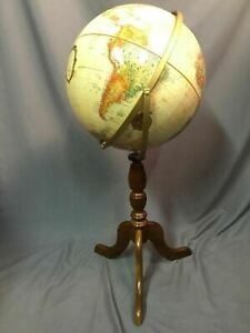 Replogle World Classic 16 In Globe Wood Floor Model Stand Made In Usa