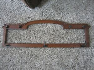 Victorian Tiger Oak Mirror Coat Hat Rack Victorian Bevel Frame Cast Iron Hooks