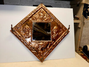 Antique Victorian Copper Mirror Coat Rack Political George Washington Lincoln