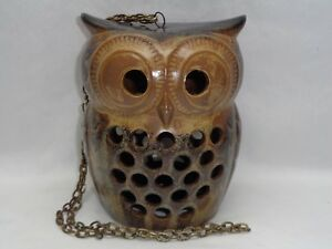 Vtg Pottery Owl Candle Lamp Hanging Lantern Danish Modern Mcm Tiki Mod Decor