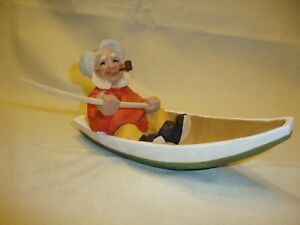 Vintage Henning Wood Carving Old Fisherman With Pole And Pipe
