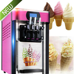 Commercial Soft Serve Ice Cream Machine Frozen Yogurt Maker 3flavor Dessert Good