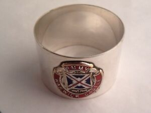 Vintage Silver Plated Silver Plated Napkin Ring With Enamelled Shipping Crest