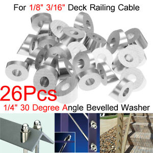26x Stainless Steel 30 Degree Angled Beveled Washer For 1 8 3 16 Cable