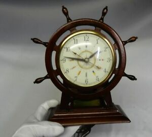 Sessions Wood Brass Ships Wheel Military Time Seven Seas Nautical Mantle Clock