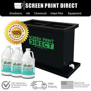 Ecotex 30 Gallon Screen Printing Dip Tank 2 n 1 Solution Kit Black
