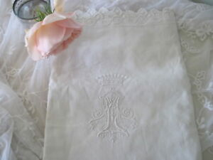 Antique French Crown Of A Count Royal Monogrammed Euro Linen Pillow Sham Case