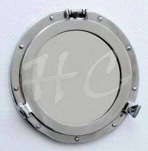 Large Aluminum Chrome Finish 17 Ships Porthole Mirror Round Nautical Wall Decor