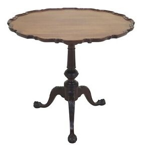 F46942ec Kittinger Vintage Chippendale Style Carved Mahogany Pie Crust Table