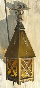Vintage Art Deco Arts Crafts Stained Glass Lantern Hanging Lamp Light