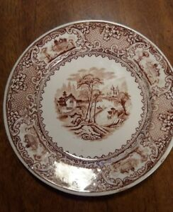 Antique Brown Transferware Ironstone Plate 7 3 4 Lucerne By Davis