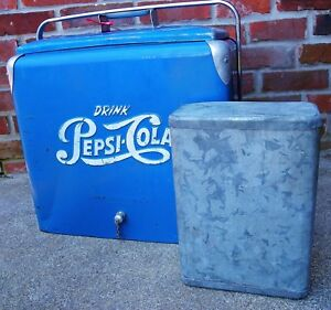 Vintage 1950s Pepsi Cola Cooler With Meat Sandwich Container