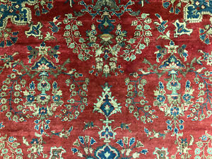 7x10 Antique Red Persian Rug Hand Knotted Rugs Wool Lilihan Sarouk Oriental 7x11