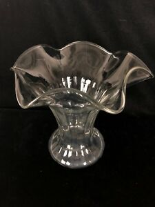 Large 6 5 Ruffle Edge Clear Glass Victorian Vase Antique Hand Blown