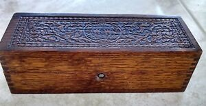 W W Wheeler Wilson Sewing Machines Wooden Carved Hinged Box
