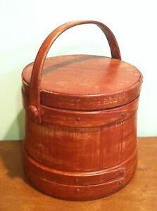 Large Antique Primitive Red Painted Wooden Firkin Sugar Bucket Handle And Lid