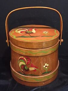 Vintage Tole Painted Wooden Firkin Bucket With Roosters And Flowers C 1960s