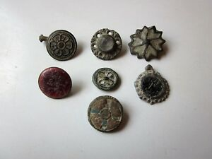 Lot Of 7 Ancient Authentic Roman Byzantine Bronze Buttons Amulets