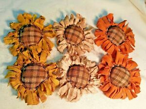 Primitive Flowers Bowl Fillers Handmade Ornies Ornaments Grunged