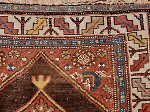 Antique Oriental Estate Rug Caucasian Runner Carpet Circa 1920