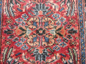 Antique Oriental Estate Rug Smaller Size Sarouk Carpet Circa 1920
