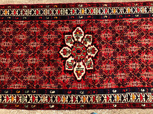 3x12 Persian Runner Rug Hand Knotted Red Blue Heriz Antique Wool Coral 3x13 4x12
