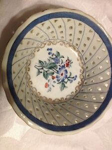 Antique Asian Hand Painted Gold Trim Chinese Bowl Signed