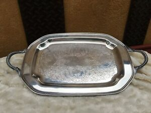 Vintage Old English Sliverplate Rectangular Serving Tray By Poole 2500