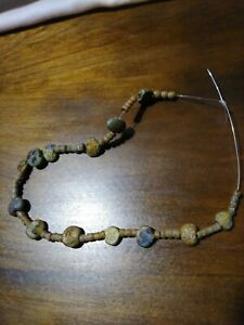 Ancient Roman Rare Gold Infused Glass Beads With Lots Of Irridescence
