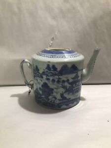 Antique Chinese Export Blue White Canton Porcelain Teapot 19c No Lid