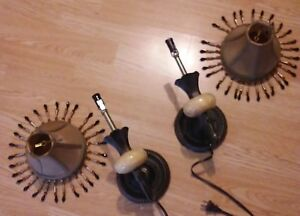 Pair Set Vintage Metal Electric Wall Sconce Lamps Beaded Shades See Photos