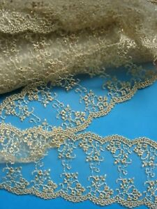 2 5 Vintage Metallic Embro Floral Netting Lace 2 Yards T008
