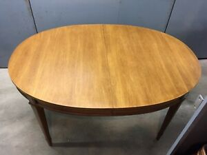 Mid Century Contempary Pecan Dinning Room Table 4 Chairs W Brocade