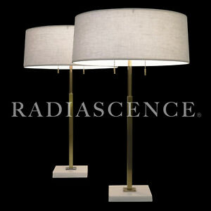 Stiffel Atomic Modern Marble Brass Tommi Parzinger Table Lamps 50s Hansen Mccobb