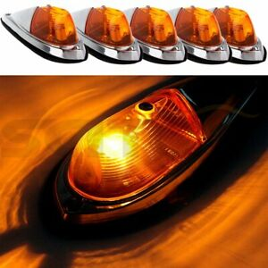 5 Teardrop Amber Cab Roof Truck Semi Trailer Clearance Marker Lights For Ford