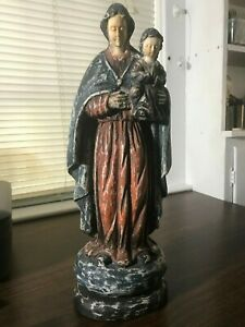 Antique Carved And Polychrome Wood Santo Statue Bone Face