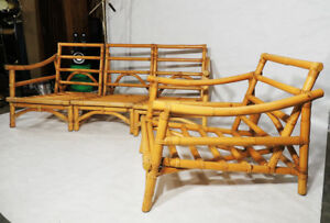 Vintage Original Calif Asia Mid Century Bamboo Wood Couch And Lounge Chair Set