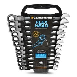 Gearwrench Flex Head Ratcheting Wrench Set Metric 12 Pc Limited Ed Black