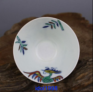 China Old Antique Ming Dynasty Polychrome The Phoenix Bamboo Hat Cup
