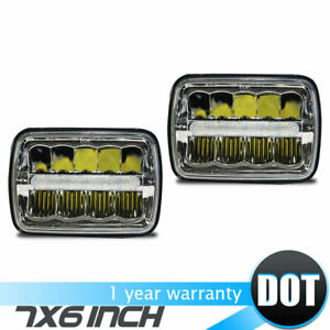 Pair 7x6 5x7 Dot Fcc Led Sealed Beam Black Housing Headlight H6052 H6054 H6014