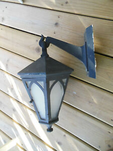Antique Arts Crafts Porch Lamp Lantern 6 Sided With Door Wall Mount