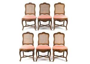 Louis Xv Dining Chairs Carved Walnut Set Of Six