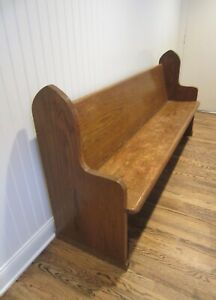 Antique Church Pew Farmhouse Entryway Bench Seating Gothic Detail Pick Up Only