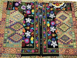 Uzbek Vintage Handmade Embroidery Suzani Robe Dress Chapan Jacket Coat